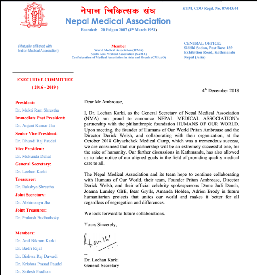 Nepal Medical Association Announces Partnership With Humans of Our World